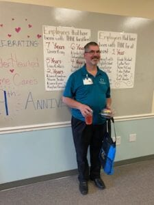 Caregiver, Carl, celebrating 1 year of service